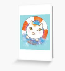 Sailor Cat Tommy with Lifebuoy and Water Splash Greeting Card
