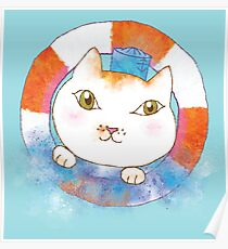 Sailor Cat Tommy with Lifebuoy and Water Splash Poster