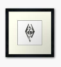 Skyrim logo Silver Framed Print