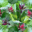 Tropical flowers and leaves by Lusy Rozumna