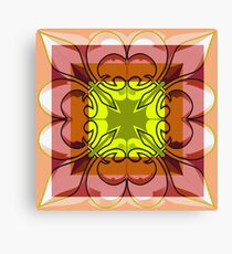 Peach Rust Graphical Square Canvas Print