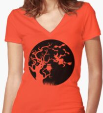 Halloween Tree Witch Bats Owl Scene Women's Fitted V-Neck T-Shirt