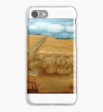 Vincent Van Gogh in a wheat field painting a wheat field iPhone Case/Skin
