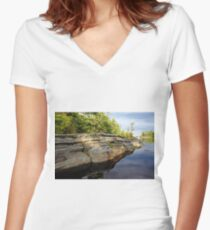 Evening Reflections Franklin Island Women's Fitted V-Neck T-Shirt