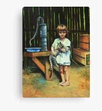Girl and Kitty Canvas Print