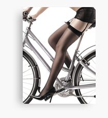 Sexy Woman Riding a Bike in Lingerie and Stockings art print Canvas Print