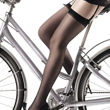 Sexy Woman Riding a Bike in Lingerie and Stockings art print by ArtNudePhotos