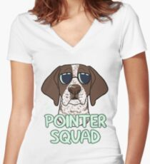 POINTER SQUAD (liver and white ticked) Women's Fitted V-Neck T-Shirt