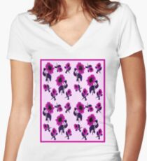 SUNFLOWER ABSTRACT : Abstract Colorful Print Women's Fitted V-Neck T-Shirt