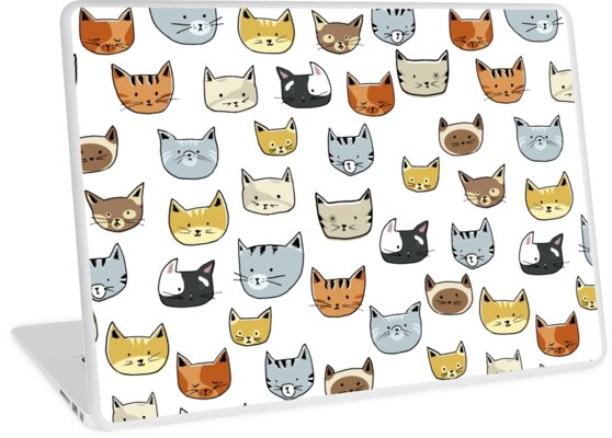 Cat Face Doodle Pattern by tanyadraws