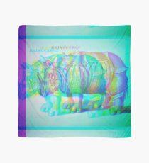 Teal Rhino Engraving Glitch Version Scarf
