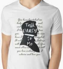 Talk Darcy to Me, Funny Quote, Jane Austen Gift Men's V-Neck T-Shirt