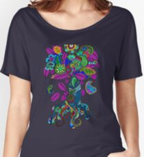 Psychedelic Paisley Tree hand-drawn Illustration on Plum Background Women's Relaxed Fit T-Shirt