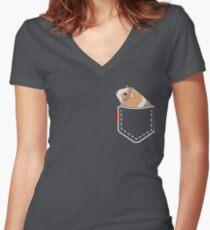 Guinea Pig Pocket Women's Fitted V-Neck T-Shirt