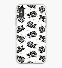 Polka Dot Roses in Black iPhone Case