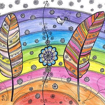 Rainbow Feathers Flowers Drawing painting design pattern by DhanaART