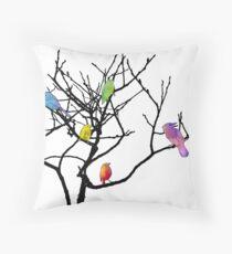 Cute Tie Dye Birdies Throw Pillow