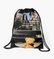 Teddy Bear and a Cathedrial  Drawstring Bag