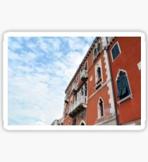 Red Venetian building facades with white decorations  Sticker
