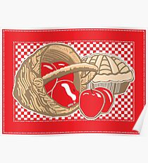 Basket of Red Delicious Apples and Pie Poster
