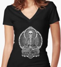 Buddha Skeleton Women's Fitted V-Neck T-Shirt