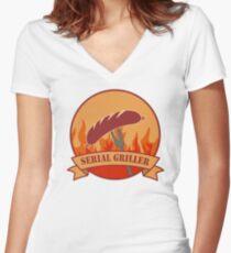 SERIAL GRILLER Women's Fitted V-Neck T-Shirt
