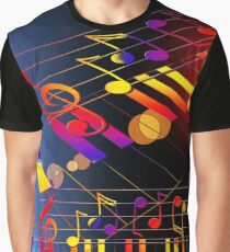 Cool Piano Shirt Accessories Rainbow Music Notes Graphic T-Shirt