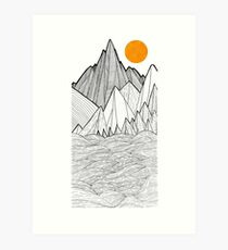 The mountains and the sea under the sun Art Print
