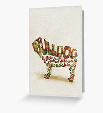British Bulldog Typographic Watercolor Painting Greeting Card