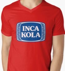 Inka Kola Aufkleber T-Shirt mit V-Ausschnitt