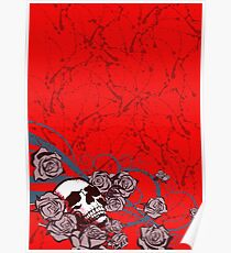 Roses and Skull Poster