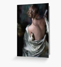 Holding his letter, she listened as his footfalls... Greeting Card