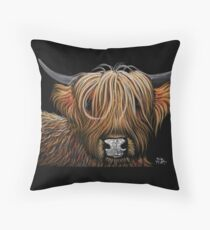 Scottish Highland Cow 'HAMISH' by Shirley MacArthur Throw Pillow