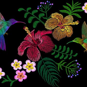 Embroidery of Two Hummingbirds Hawaii Tropical Flowers by LuckyStep