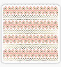Coral faux gold leaves chevron geometrical pattern Sticker
