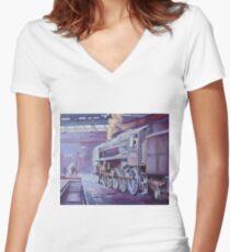British Railways Standard 9F on Saltley turntable. Women's Fitted V-Neck T-Shirt