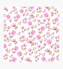 Girly blush pink brown watercolor hand painted floral pattern Photographic Print