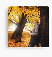 Trendy elegant woman with takeaway coffee Canvas Print