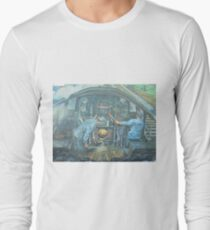 On the footplate of a Castle class locomotive. Long Sleeve T-Shirt