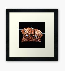 Scottish Highland Cows ' BUDDIES 2 ' by Shirley MacArthur Framed Print