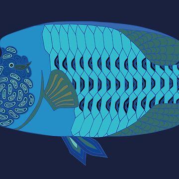Aboriginal Art - Great Barrier Reef Fish - Humphead Wrasse by wigilwigil