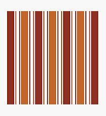 Orange, Brown And White Striped Pattern Photographic Print
