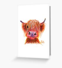 Scottish Highland Hairy Cow ' CHILLI CHOPS ' by Shirley MacArthur Greeting Card