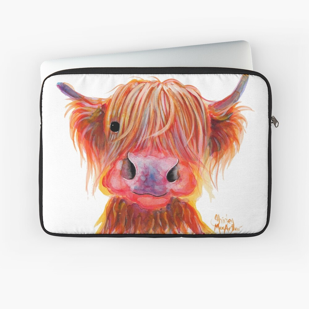 Scottish Highland Hairy Cow ' CHILLI CHOPS ' by Shirley MacArthur Laptop Sleeve