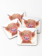 Scottish Highland Hairy Cow ' CHILLI CHOPS ' by Shirley MacArthur Coasters