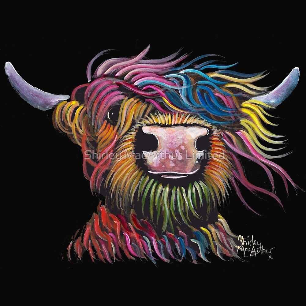 Scottish Hairy Highland Cow ' ROCK A BILLY ' by Shirley MacArthur by Shirley MacArthur