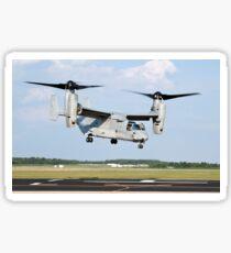 A U.S. Marine Corps MV-22 Osprey lifts off during a successful biofuel test flight. Sticker