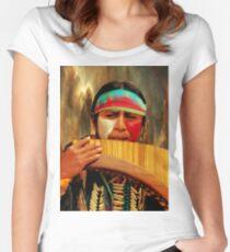 Quechuan Pan Flute Player II Women's Fitted Scoop T-Shirt