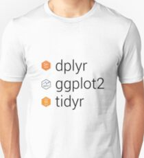 Tidyverse libraries: dplyr, ggplot2, tidyr Unisex T-Shirt