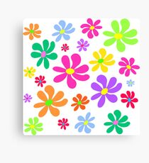 Colorful floral pattern on white background Canvas Print